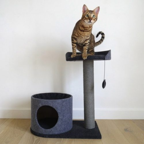 Arbre à chat Charcoal Felt Cat House Rosewood