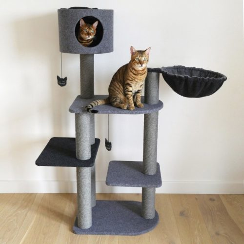 Arbre à chat Charcoal Felt Cat 3Tower Rosewood